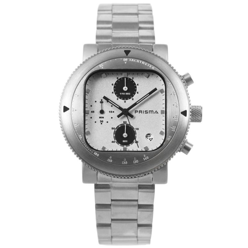 Rond Prisma Heren Horloge met Vierkante Witte Wijzerplaat