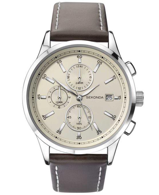 Sekonda Heren Chronograaf Horloge met Crème Wijzerplaat