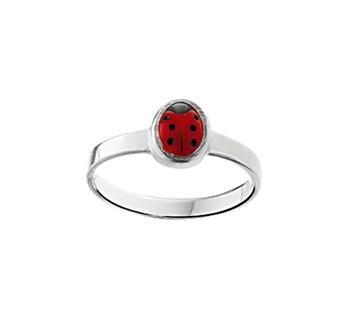Zilveren Ring met Rood Lieveheersbeestje | Ringmaat 12,5