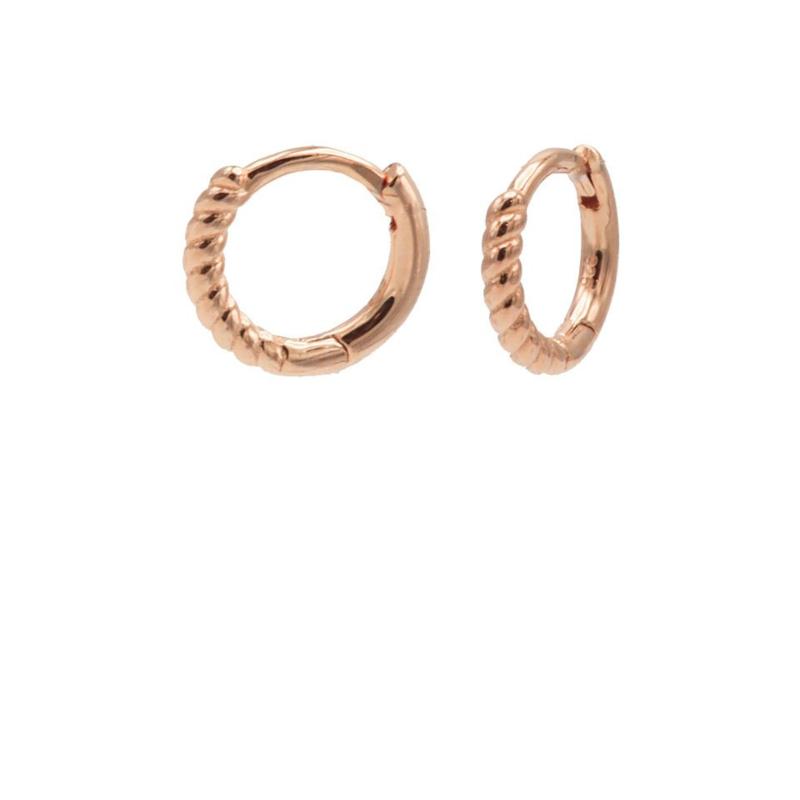 Roségoudkleurige Oorringen met Gedraaid Oppervlak   Karma Jewelry