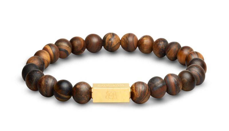 Essential Gold | Matte Tijgeroog Kralen Armband van Blaauw Bloed