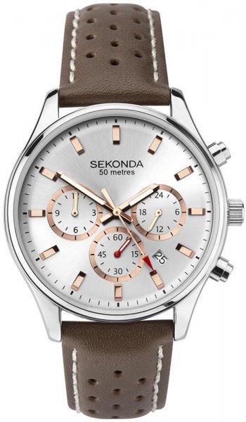 Sekonda Zilverkleurig Heren Horloge met Bruin Leder
