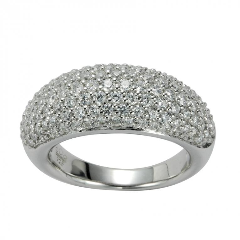 Outlet Zilveren Bolle Ring met Zirkonia's