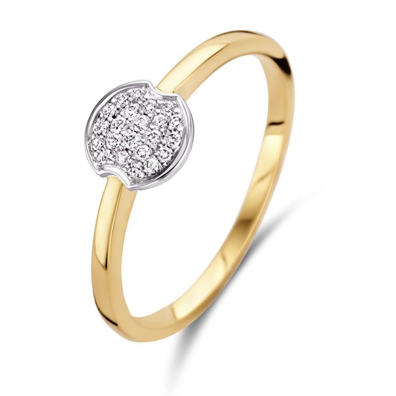 Excellent Jewelry Slanke Gouden Ring met Witgouden Diamanten Kopstuk