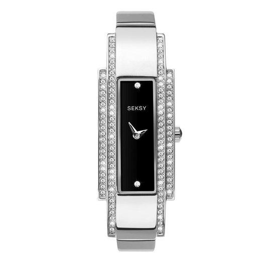 Sekonda Rechthoekig Zilverkleurig SEKSY Dames Horloge met Zirkonia's
