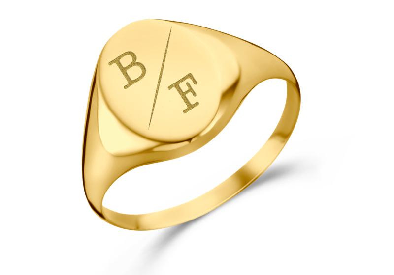 Ovale Gouden Zegelring met Twee Initialen   Names4ever