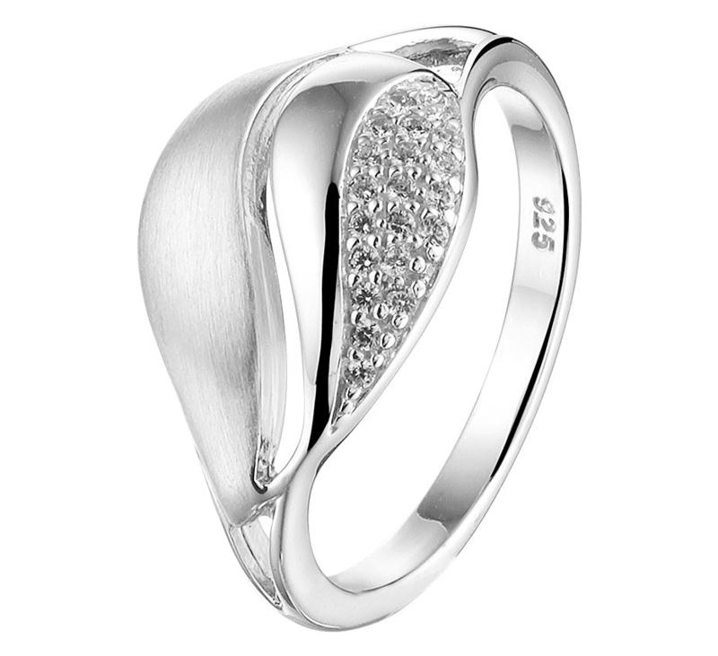 Zilveren Ring met Gepolijste en Matte Bewerking en met Zirkonia's