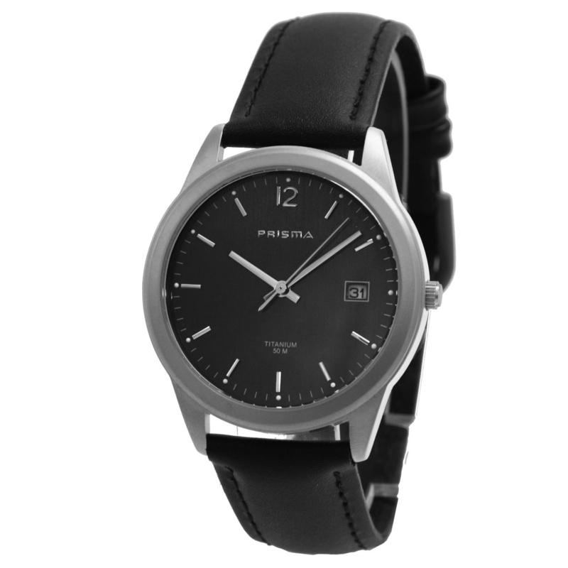 Classic Titanium Heren Horloge met Zwart Lederen Band