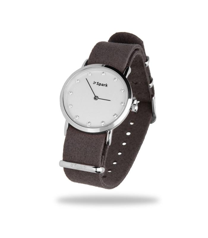 Sencillo Zilverkleurig Horloge met Grijze Horlogeband van Spark