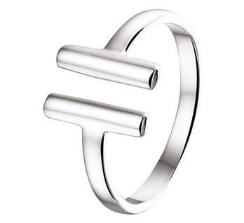 Ring van Zilver met Staaf Uiteinden / Maat 17,8