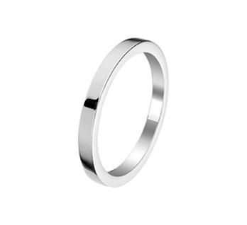 Slanke Basic Ring van Gerhodineerd Zilver / Maat 18