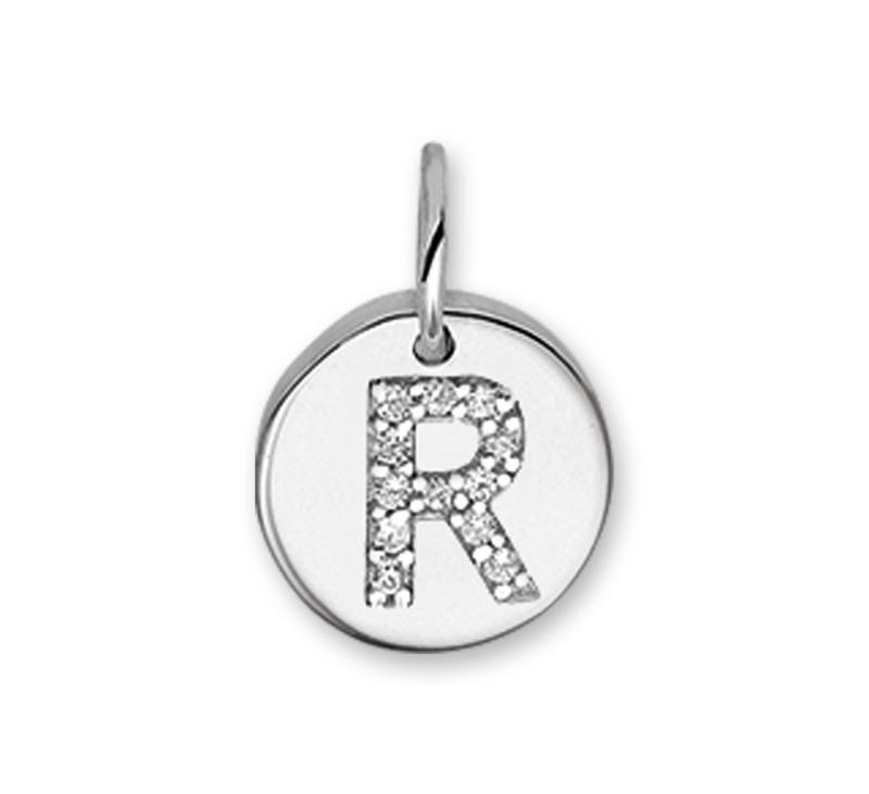 Letter R Bedel Hanger van Zilver met Zirkonia's
