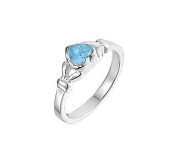 Zilveren Ring voor Kinderen met Blauwe Topaas / Maat 15