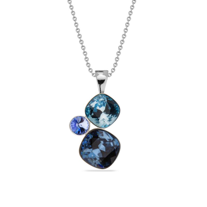 Spark Ketting met Blauwe Swarovski Kristallen Hanger | SALE