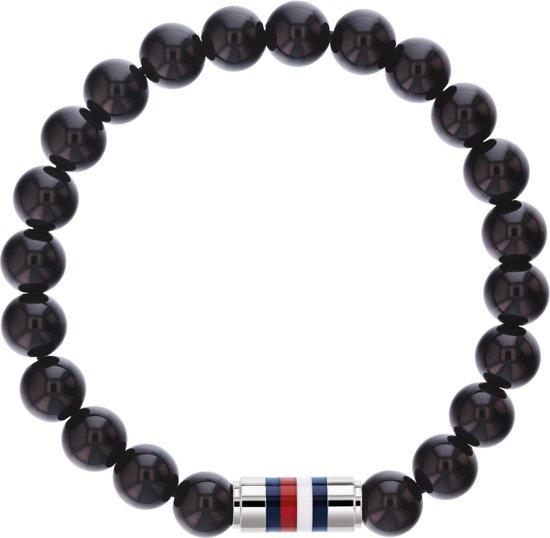 Tommy Hilfiger Armband met Zwarte Natuurkralen