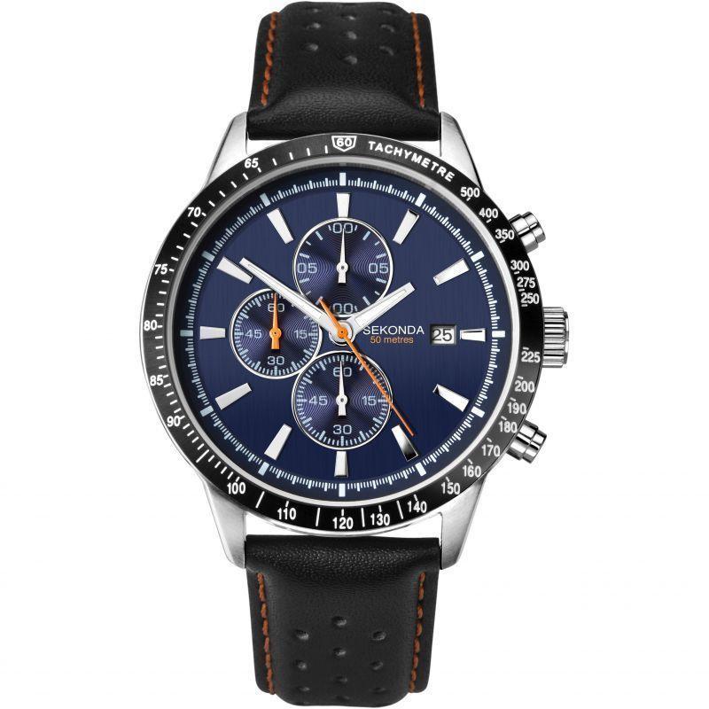 Sekonda Sportief Zilverkleurig Heren Horloge met Zwart Leder