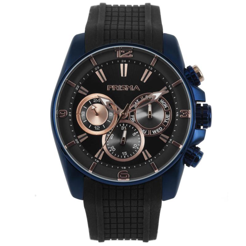 Multi-Functie Blauw met Zwarte Heren Horloge van Prisma