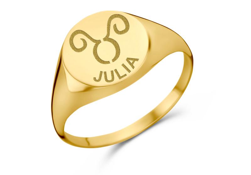 Gouden Zegelring Rond met Sterrenbeeld en Naam | Names4ever