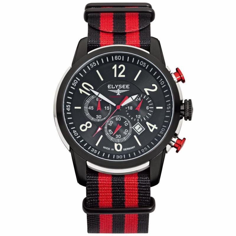Rood met Zwart Race Horloge voor Heren van Elysee
