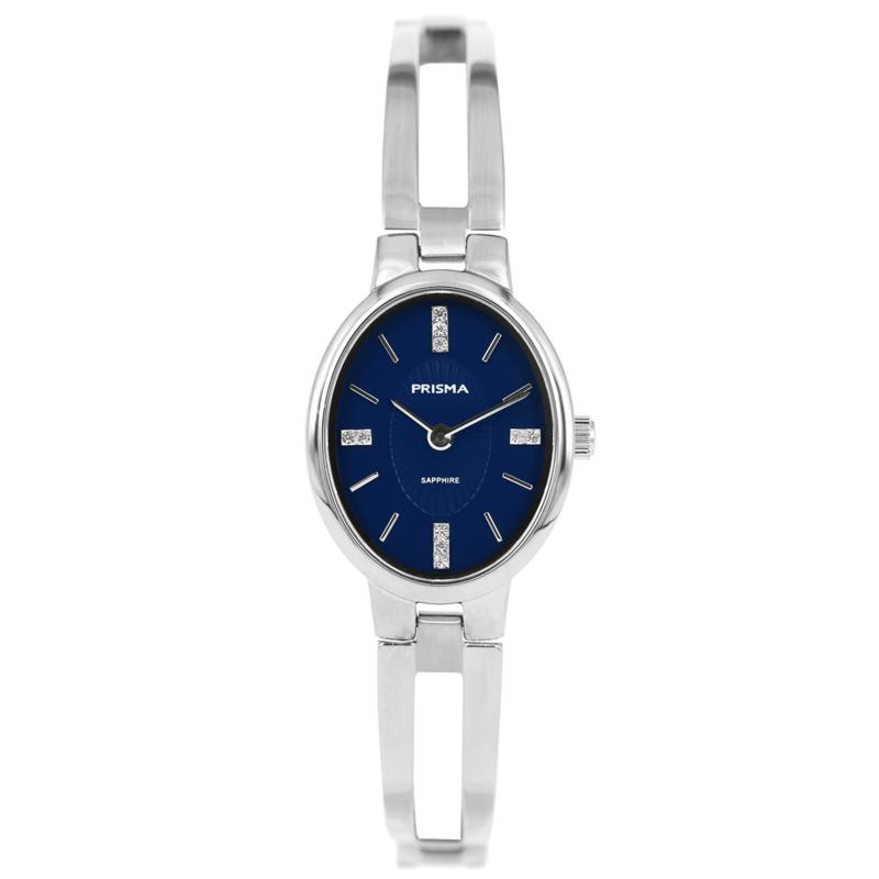 Elegant Dames Horloge van Prisma met Blauwe Ovale Wijzerplaat