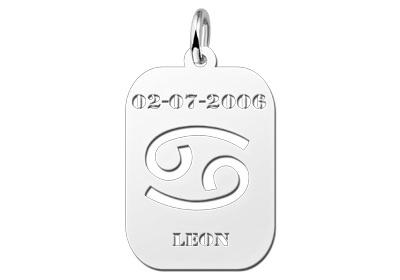Names4ever Astrologie Kreeft Zilver Hanger ZHS004