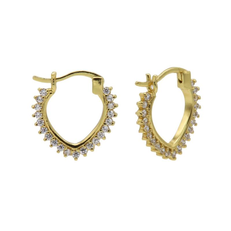 Goudkleurige V-Vormige Hoops oorbellen met Zirkonia's | Karma Jewelry