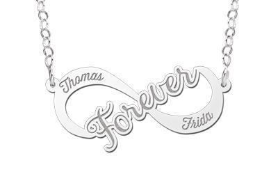 Names4ever Forever Infinity Ketting van Zilver - Graveer Sieraad