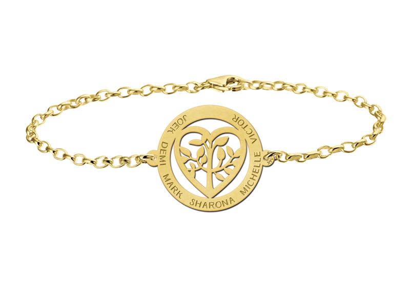 Gouden Armband met Opengewerkte Levensboom en Hart Naamhanger > Names4ever