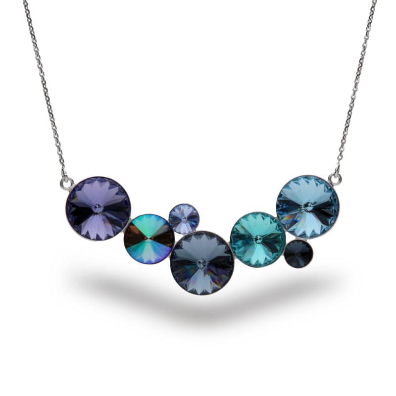 Zilveren Ketting met Blauwe Swarovski Kristallen