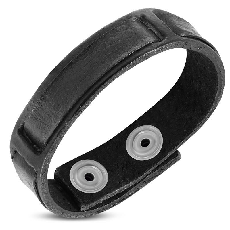 Zwart Lederen Armband met Drukknopen