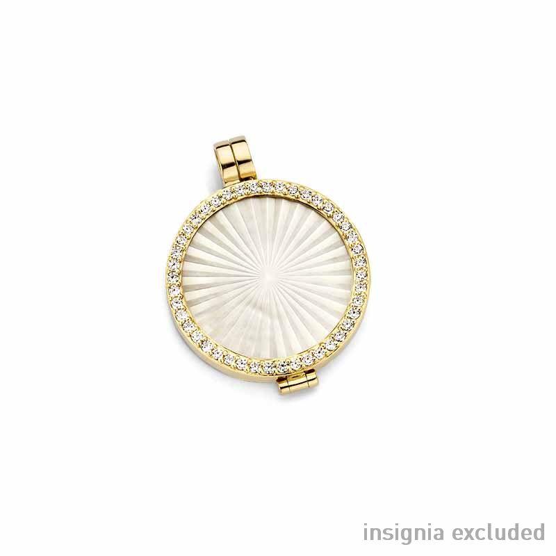 Gouden 24mm Medaillon van MY iMenso Gold met Zirkonia's
