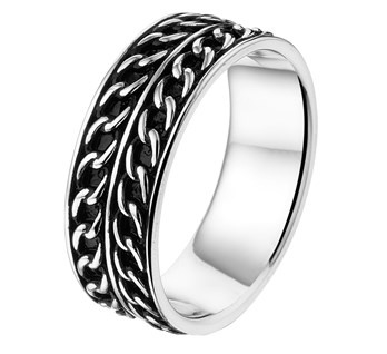 Geoxideerd Zilveren Graveer Ring met Zilveren Randen en Zilveren Lijntjes