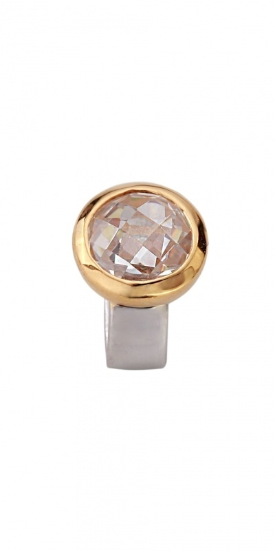 Slide Stone white round goldplated JS024