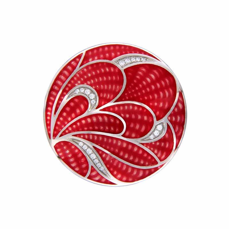 Red Crocus 33mm Emaille Insignia met Zirkonia's van MY iMenso