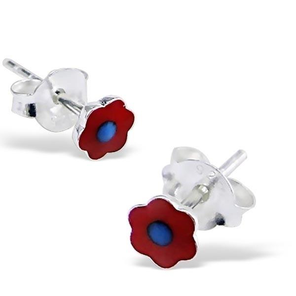 Zilveren oorbelletjes SU172-rood
