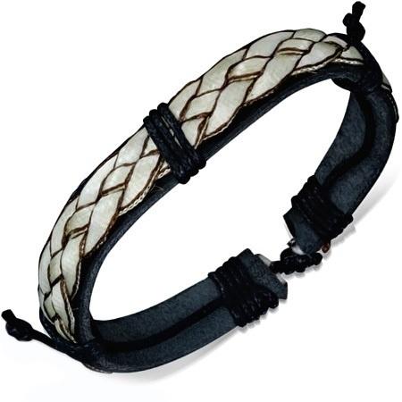 Zwart/Wit gevlochten leren armband