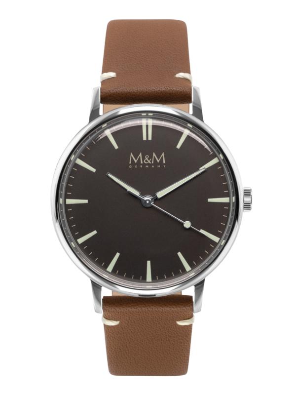 Zilverkleurig M&M Heren Horloge met Bruine Horlogeband