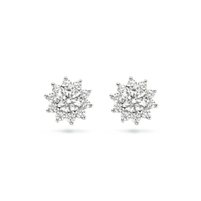 Schitterende Zilveren Oorknoppen met Zirkonia Halo