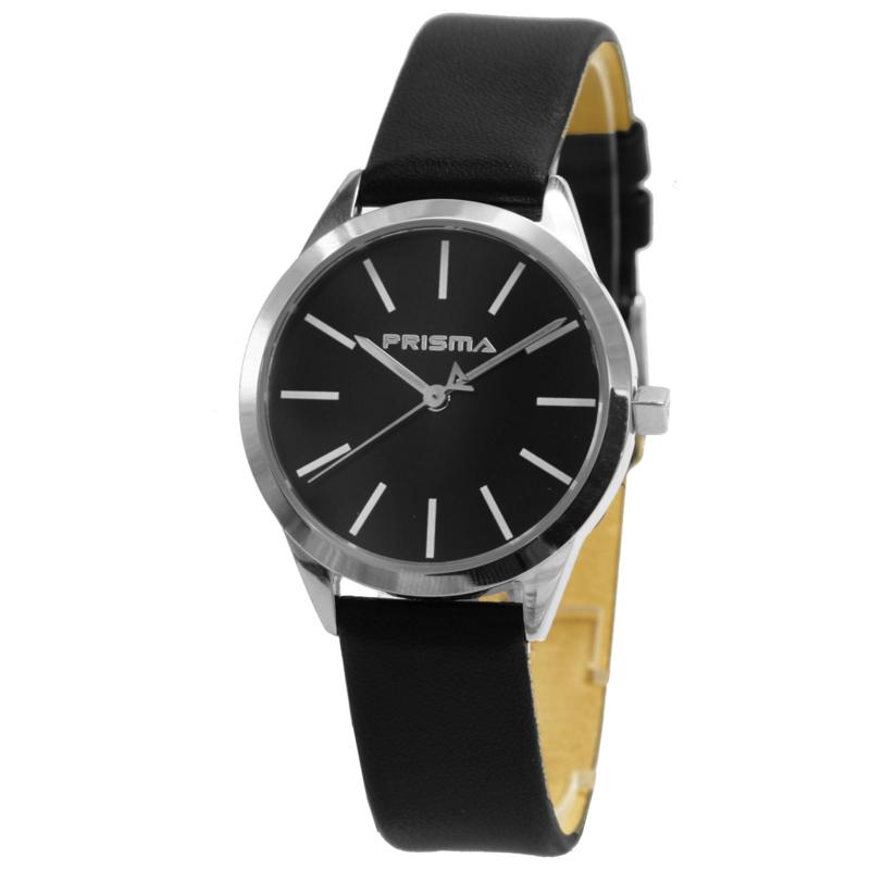 Prisma Basic Rond Dames Horloge met Zwart Lederen Horlogeband
