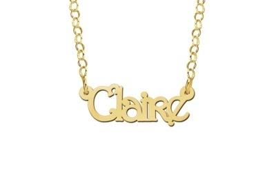 Names4ever Claire Stijl Gouden Naamketting voor Kids GNK28