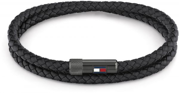 Gevlochten Armband van Zwart Leder met Edelstalen Sluiting van Tommy Hilfiger
