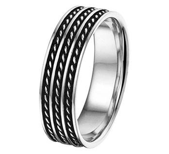 Graveer Heren Ring van Gepolijst Zilver met Geoxideerd Zilveren Stroken