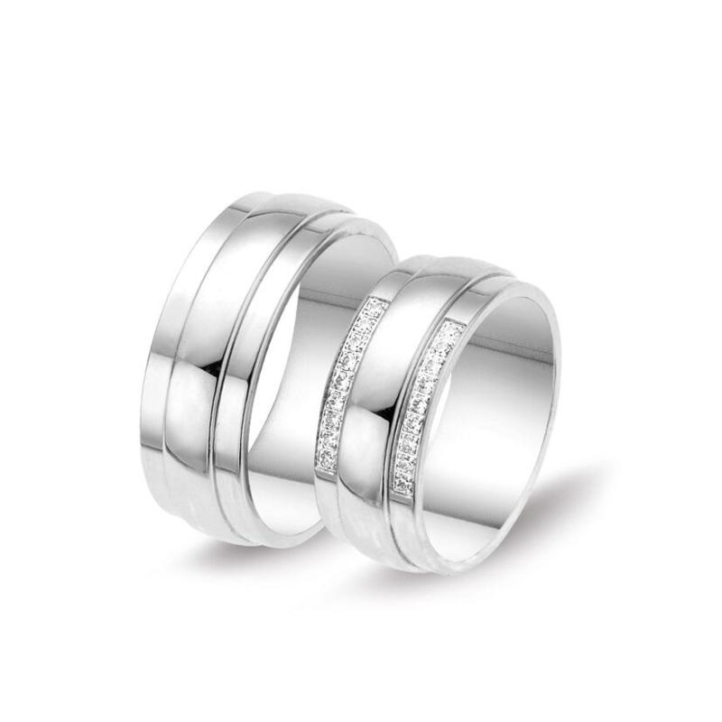 Design Trouwringen Set van Zilver met Achttien Zirkonia's