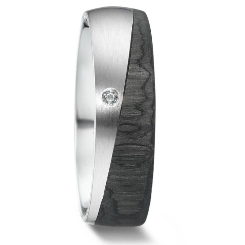 Carbon met Zilveren Dames Trouwring met Diamant