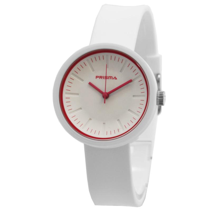Prisma Modern Wit Dames Horloge met Rode Rand