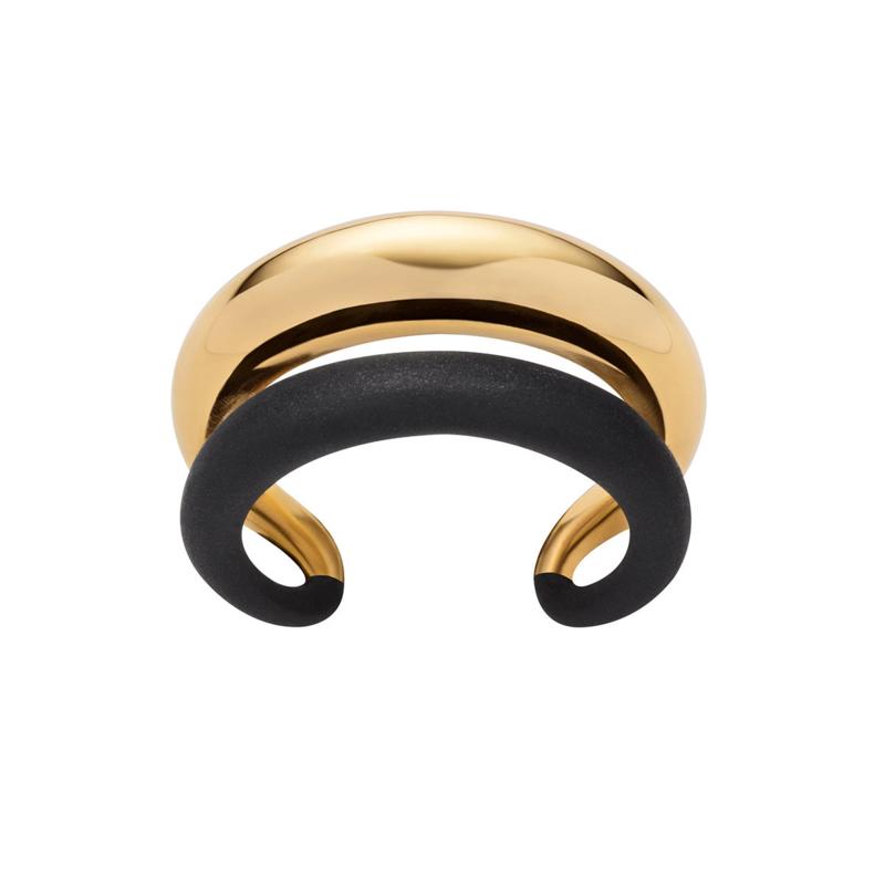 Bolle Bicolor Ring van Edelstaal met Twee Stroken van M&M