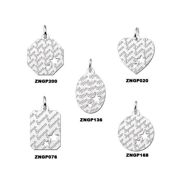 Names4ever Zilveren Graveerplaat Naampatroon met twee Sterren