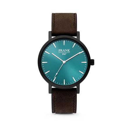 Zwart Horloge van Frank 1967 met Blauwe Wijzerplaat en Donkerbruine Horlogeband