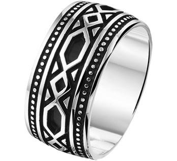 Heren Ring van Geoxideerd Zilver / Maat 21