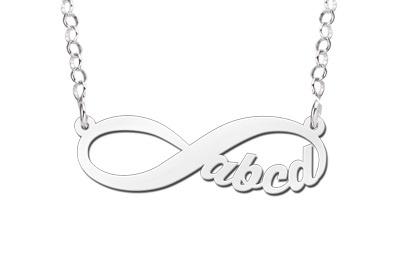 Names4ever Infinity Zilveren Hanger Vier Letters